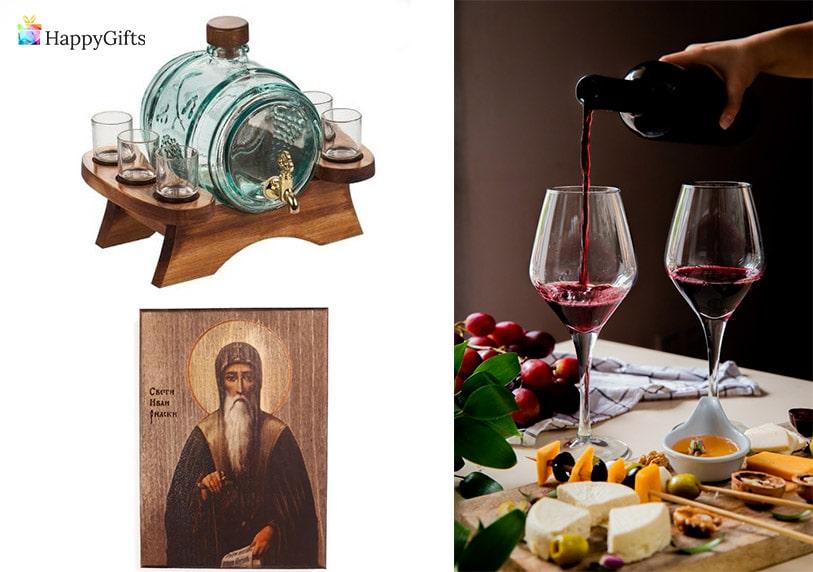 подарък за имен ден на жена ивановден бъчва диспенсър за напитки с чаши романтична вечеря вино икона