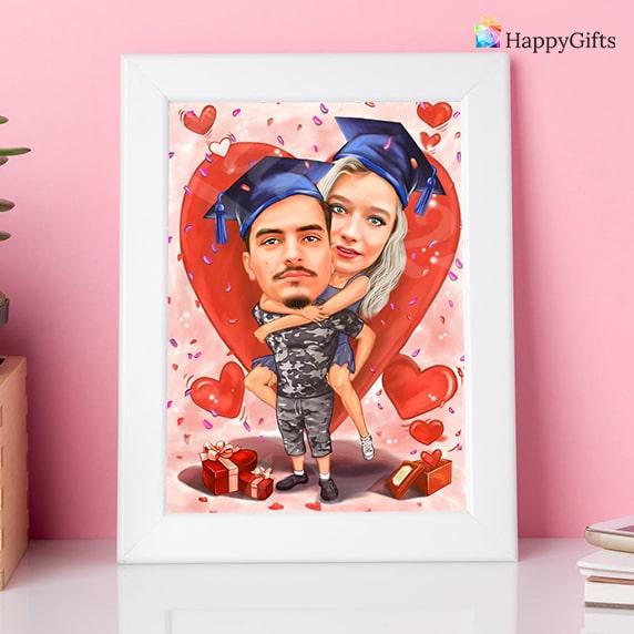 карикатура по снимка подарък за Свети Валентин