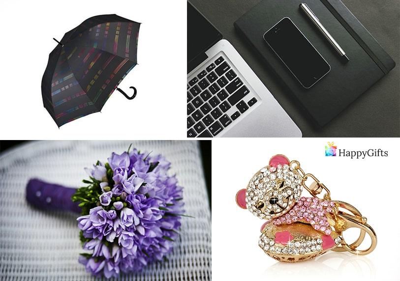 подарък за колежка за 8-ми март букет цветя чадър ключодържател тефтер