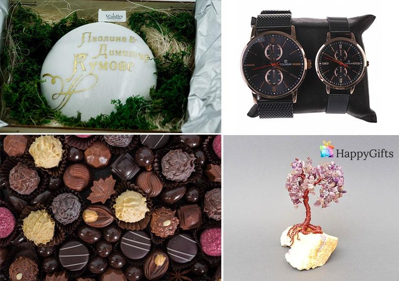 Ръчно изработена свещ, дървото на живота от полускъпоценни камъни, бонбони, часовници, луксозни подаръци