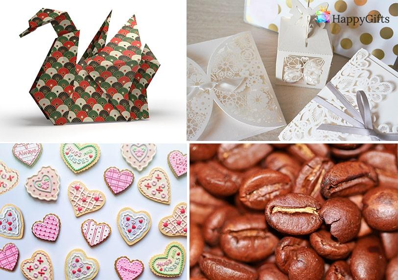 Направи си сам интересни оригинални подаръчета за гостите оригами лебед торбички с кафе картички корабийки във формата на сърце