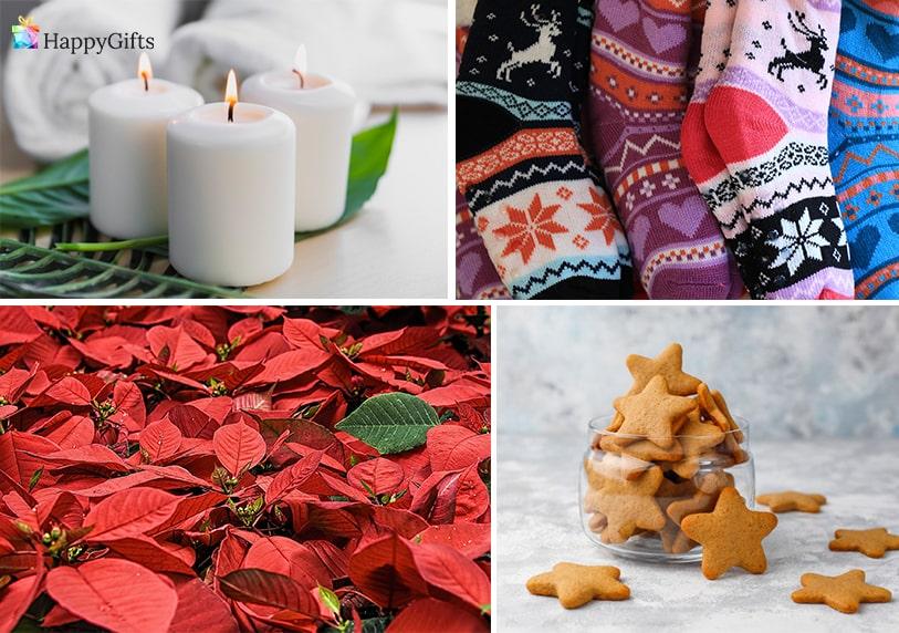 неангажиращи коледни подаръци за жена колежка фирма цвете коледна звезда свещи чорапи сладки меденки