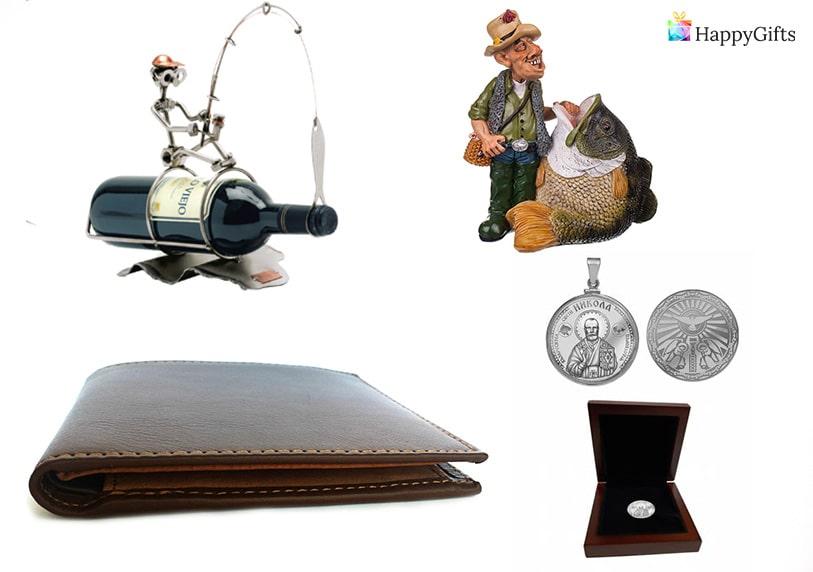 подарък за имен ден на никола портфейл поставка за вино статуетка рибар сребърна монета с икона