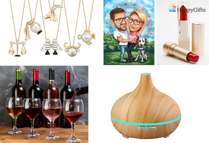 Подаръци за Свети Валентин: Карикатура, Червило, Винен абонамент, Огърлица, Дифузер за етерични масла