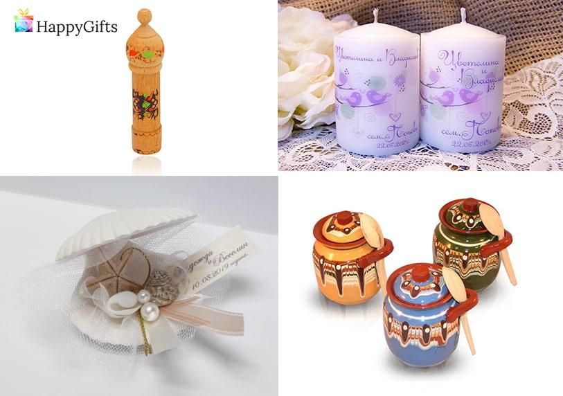 оригинални малки подаръчета за гостите на сватба розова вода персонализирана свещ с надпис декупаж мида с перла и късметче глинено гърненце с мед и дървена лъжичка