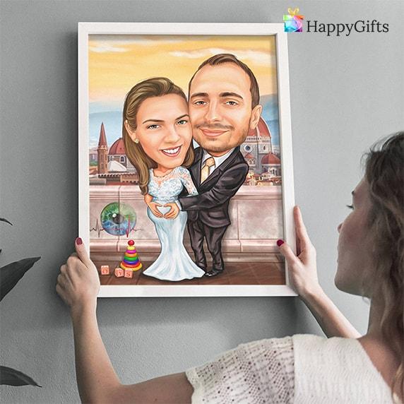 весела карикатура интересен, оригинален подарък за сватба от кумове