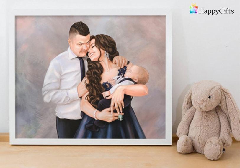 семеен портрет подарък за годишнина на младо семейство от кумовете