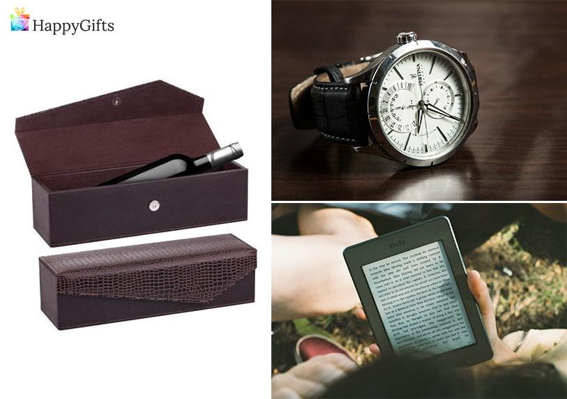 персонален подарък за пенсиониране, кутия за вино, часовник, електронен четец