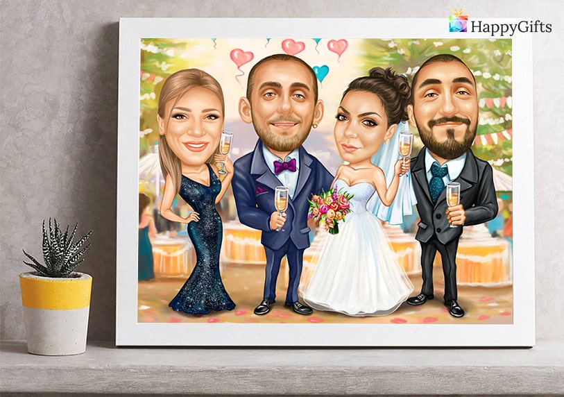 персонализирана карикатура подарък за сватба от булката за шаферката