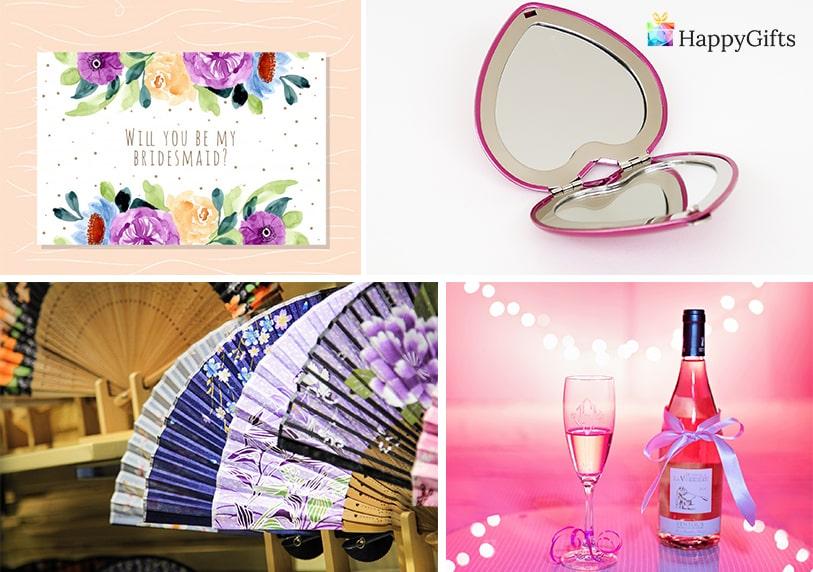 персонализирани подаръци от булката за шаферките огледалце с надпис картичка бутилка шампанско ветрило за спомен