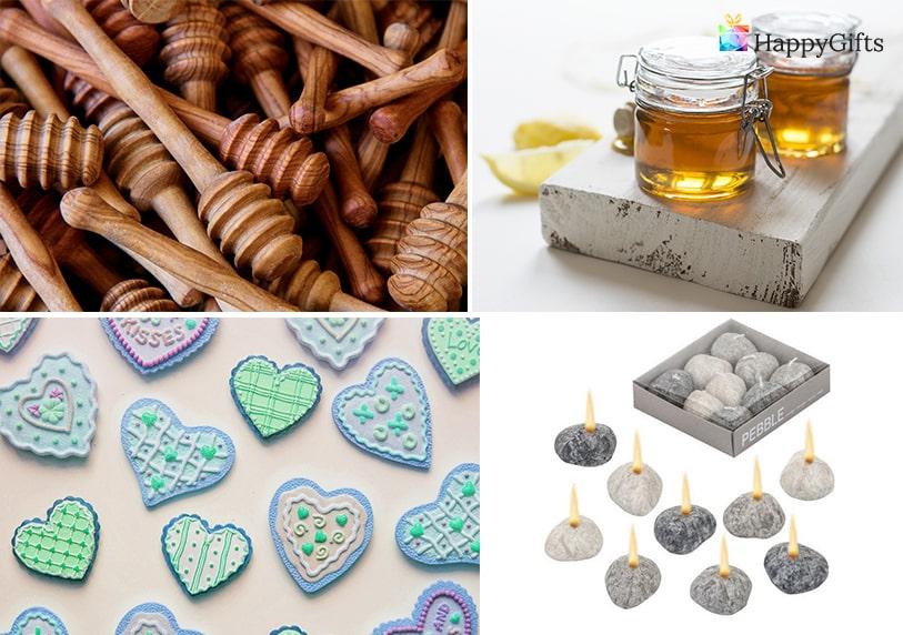 Практични подаръчета за гостите на сватба бурканче с мед камъче свещник