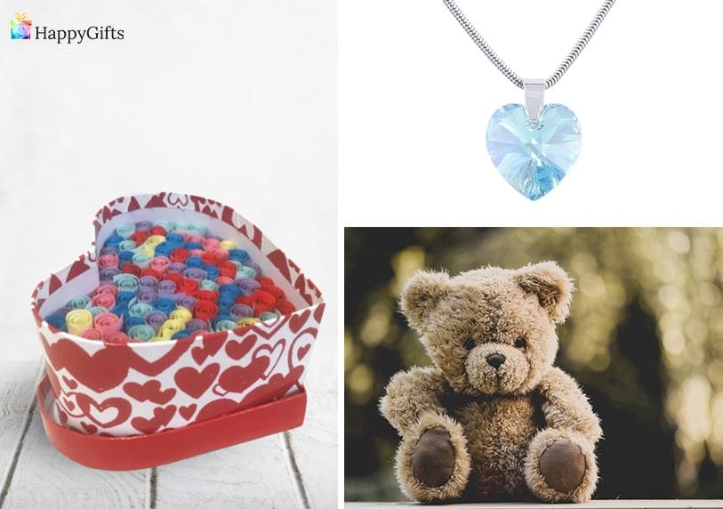 романтичен подарък за коледа за жена бижу сърце мече 100 пожелания в кутия сърце