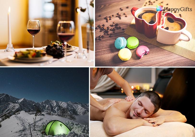 Подаръци за коледа за мъж, Коледни подаръци за мъж, масаж, романтична вечеря, чаши, чаши за влюбени, уикенд в планината