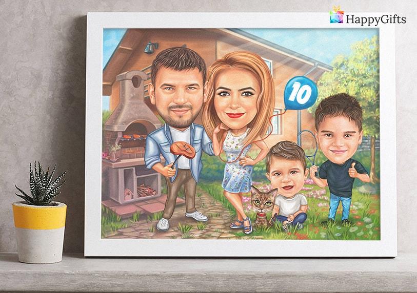 Семейна карикатура, весел подарък за семейство