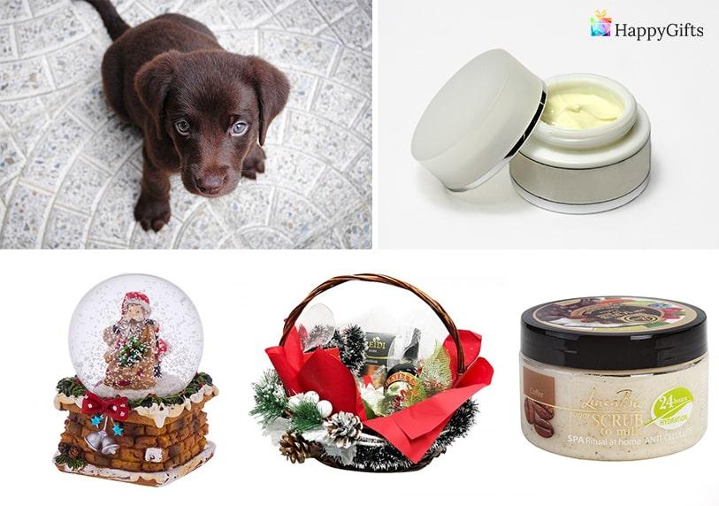 домашен любимец куценце крем козметика снежна топка кошница с подаръци