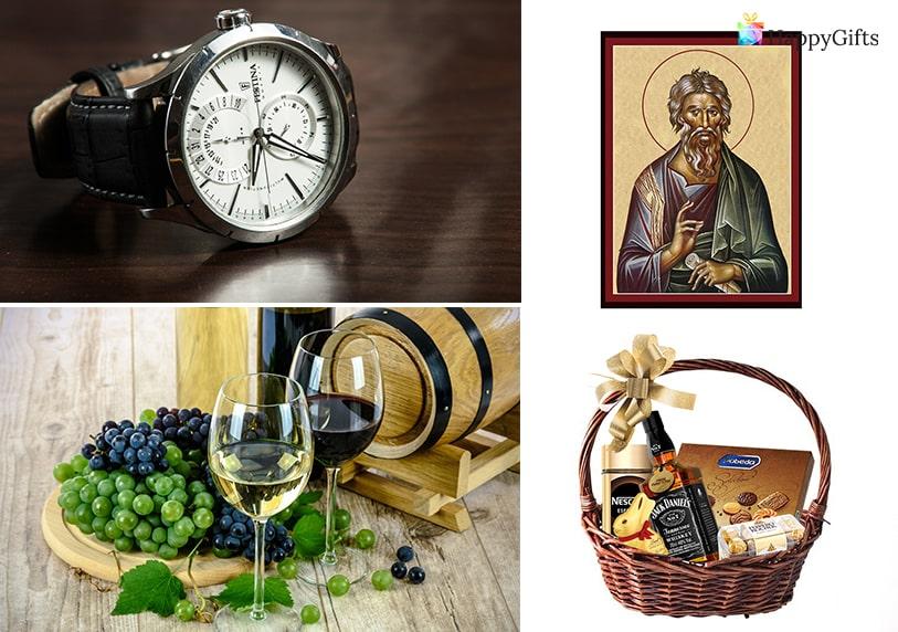 специален подарък за имен ден на мъж ръчен часовник вино и грозде дегустация на вино кошница с уиски и бонбони икона
