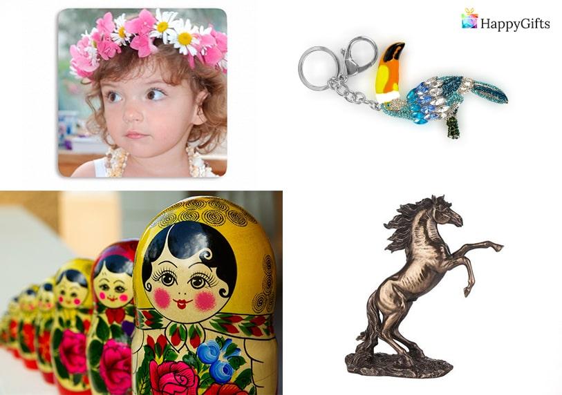 сувенири за подарк за имен ден на жена статуетка ключодържател матрьошки венец от цветя аксесоари за коса