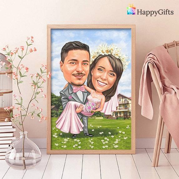 Сватбена карикатура подарък от шаферките весел запомнящ се подарък