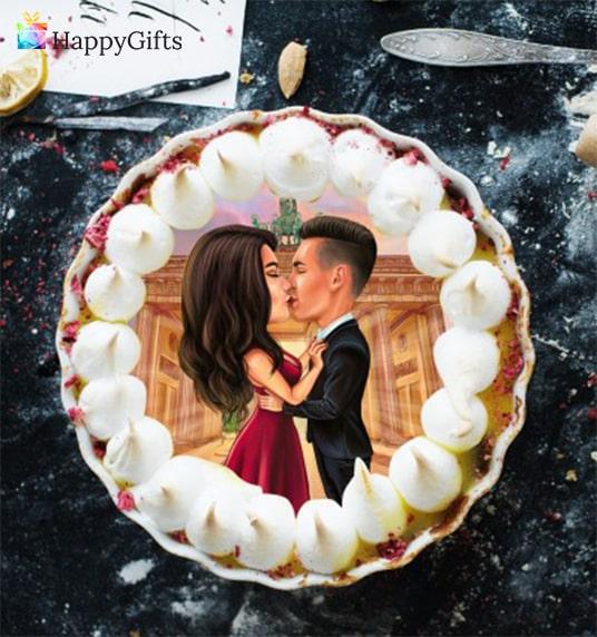 Торта с карикатура, подарък за годеж