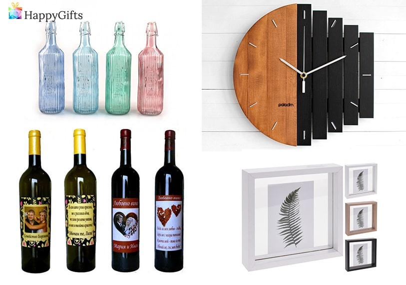 Рамка за снимка, бутилка вино с персонализиран етикет, стенен часовник, бутилки