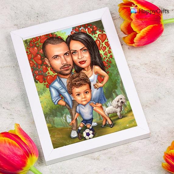 карикатура по снимка за двойка, семейство с дете