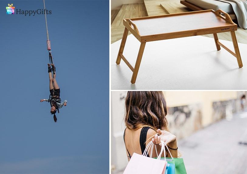 подаръци за 30 годишнина на жена екстремен ден, скачане с бънджи, пазаруване, табла за закуска в леглото