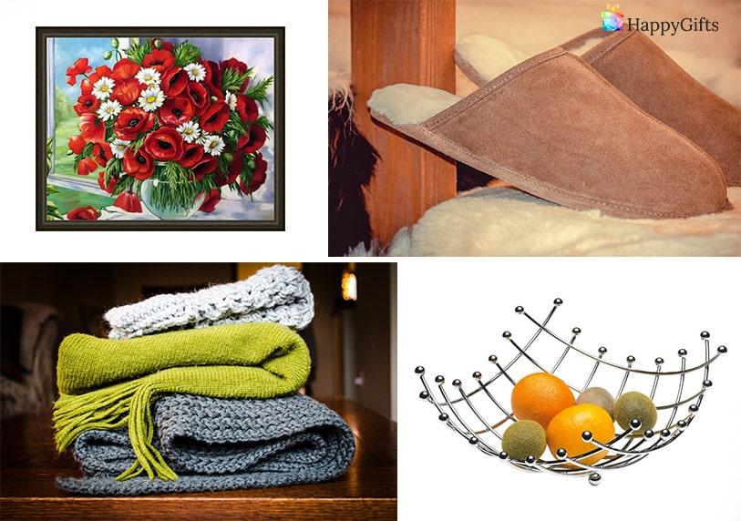 подарък за 8-ми март за баба удобни пантофи шак купа за плодове красива картина