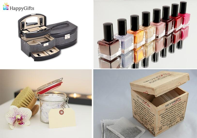 подарък за коледа за жена на 50 лак за нокти свещ кутия за бижута кутия с ръчно написани пожелание