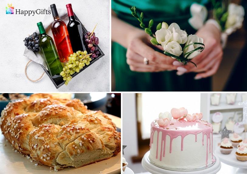 подарък за кумове традиции, питка, бутилка вино, торта, букет