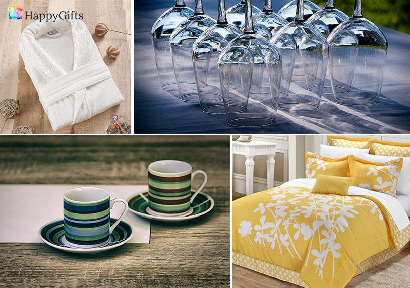 подаръци за кумове, халат, чаши за вино, сервиз за кафе, спално бельо