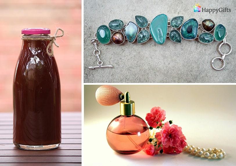 коледен подарък за любимата жена домашно приготвен сок парфюм гривна с естествени камъни