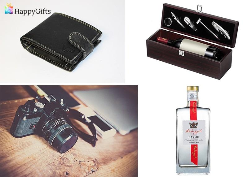 портфейл, фотоапарат, кутия за вино, аксесоари за вино, бутилика ракия, качествен алкохол, подаръци за мъжа за годеж