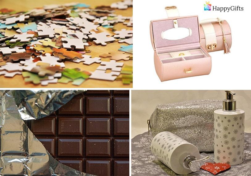 подарък за приятелка за 8-ми март шоколад козметика пъзел кутия за бижута