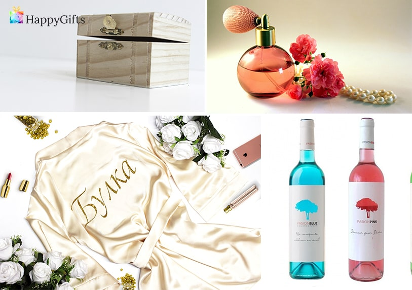 подаръци от шаферките подходящи за сватбения ден парфюм кутия за бижута синьо вино сатенен халат с персонализиран надпис булка