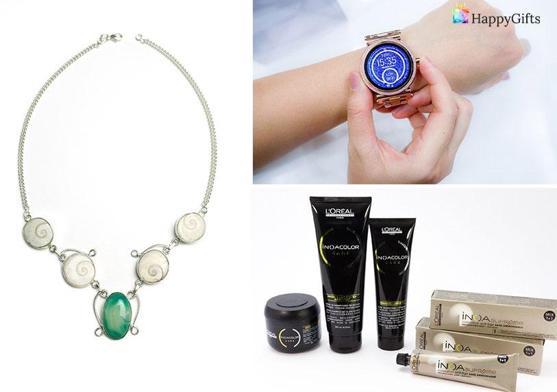 подарък за свекърва за 8-ми март колие часовник козметика