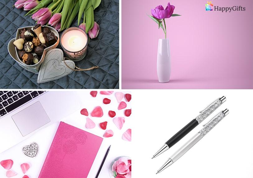 подарък за учителка за 8-ми март луксозна химикалка свещи ароматни ваза с цветя тефтер за жена