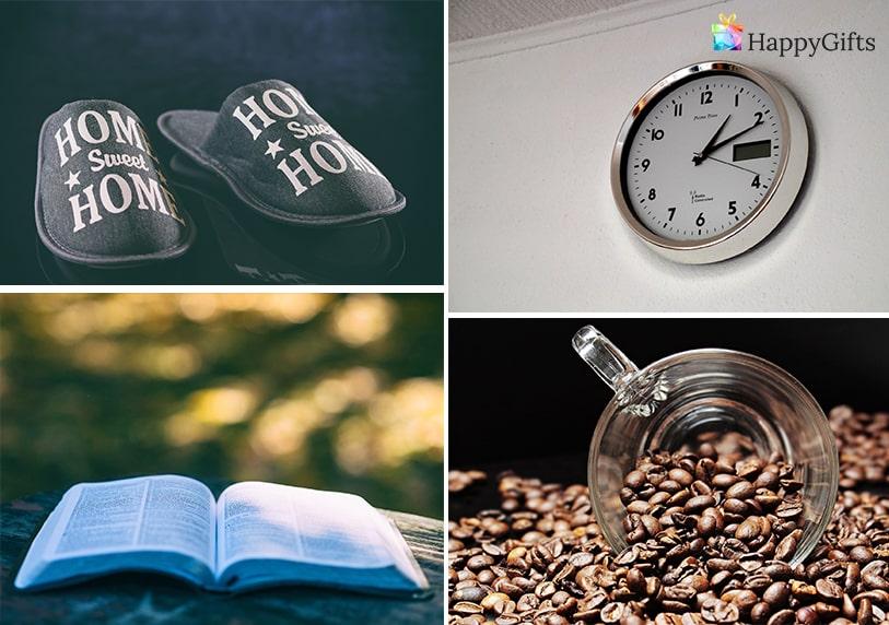 Коледен подарък за мъж, мъжки подарък за Коледа, чехли, пантофи, стенен часовник, книга, кафе