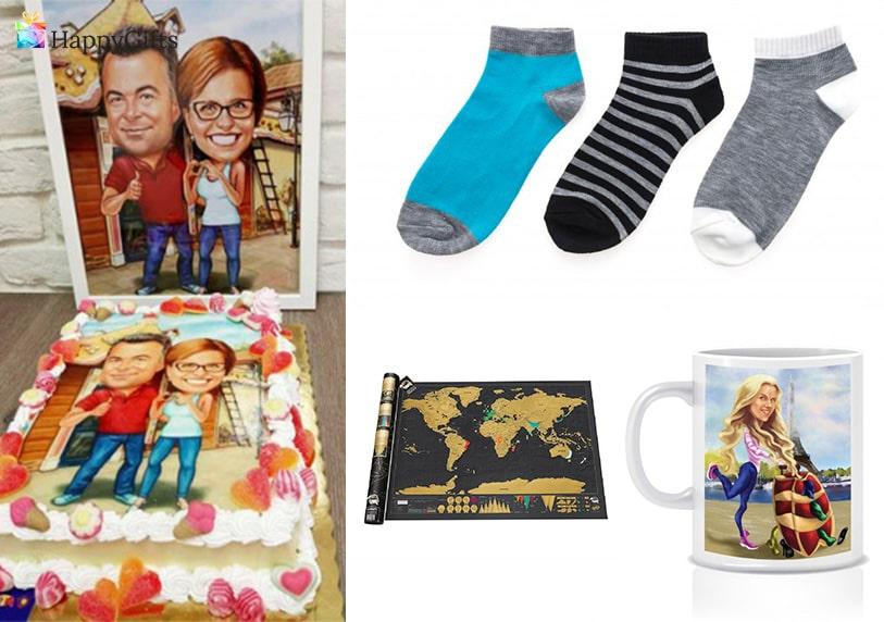 забавни подаръци. торта с карикатура, чорапи, скреч карта на света, чаша с карикатура