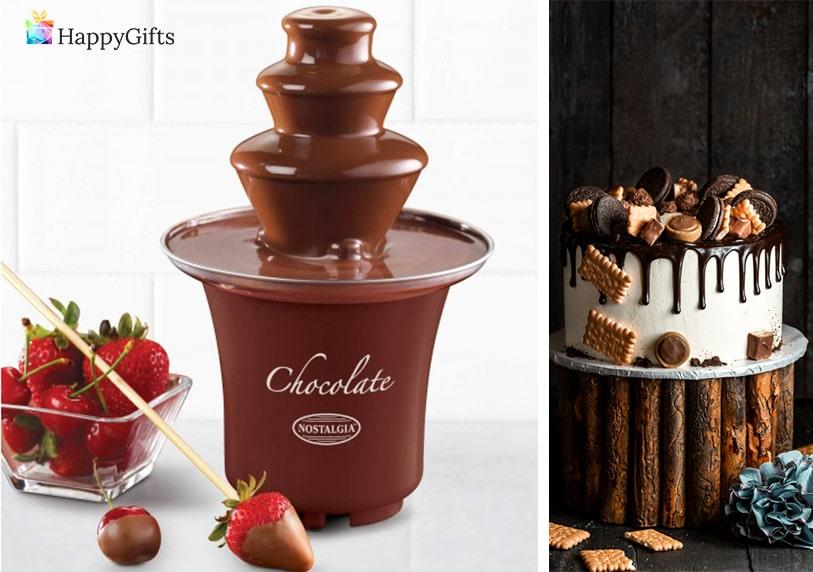 Подарък за 18 годишнина; шоколадово фондю, торта