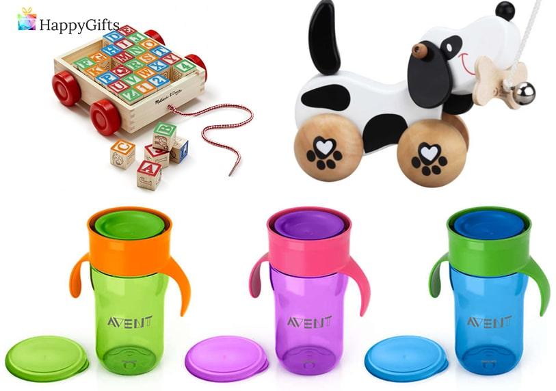 Подарък за 1 ви рожден ден; количка с кубчета, играчка, бутилка за вода