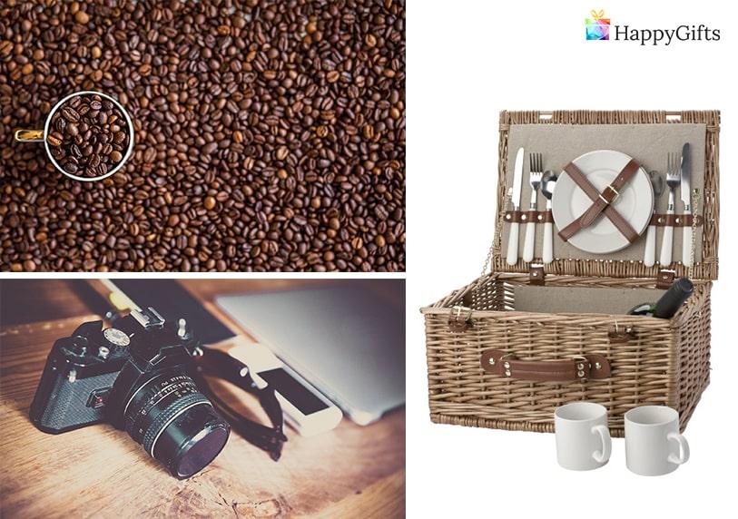 Подарък за 20 годишен юбилей; кафе, фотоапарат, кошница за пикник