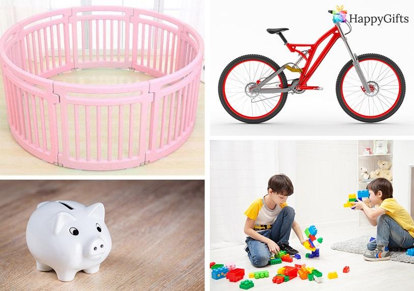 подарък за дете на 4, колело, конструктор, касичка