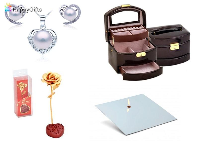 Подаръци за мама, подаръци за майка, кутия за бижута, бижу, златна роза, свещ