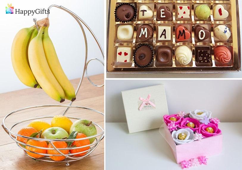 подарък за майка, подарък за мама, подарък за 8-ми март, фруктиера, бонбони, шоколадов букет