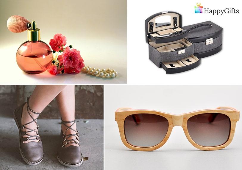 дамски подаръци, слънчеви очила, парфюм, обувки, кутия за бижута