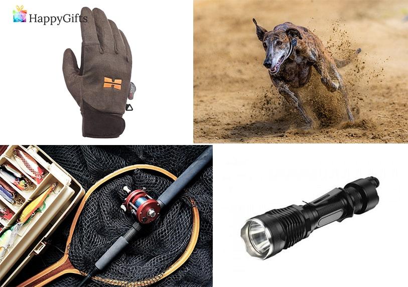 идеи за подаръци за мъж ловджия; ръкавици за лов, ловно куче, въдица, фенер