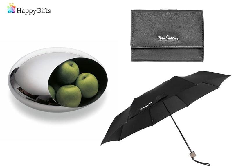 идеи за подаръци за свекървата; фруктиера, кожен портфейл, чадър
