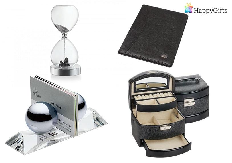 Интересни подаръци за шефката,Магнитен пясъчен часовник, кутия за бижута, папка, поставка за визитки