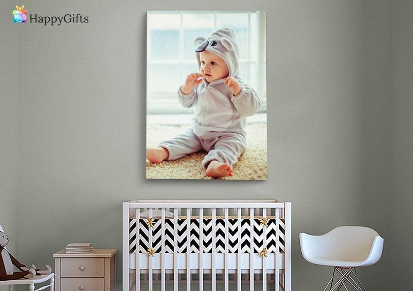 Подарък за бебе на 1 годинка; снимка върху канава