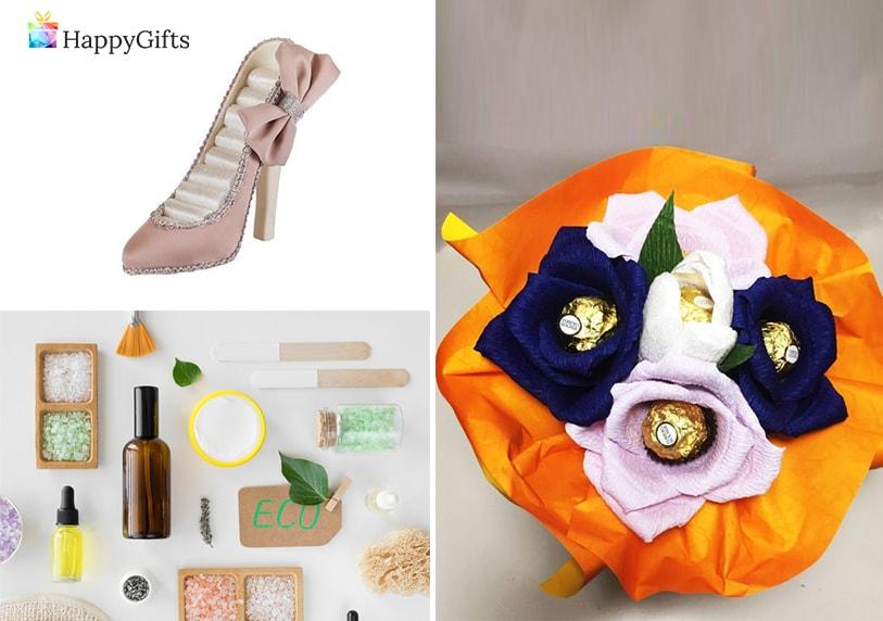 класически подаръци за свекърва букет от бонбони, поставка за пръстени, козметика